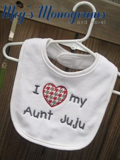 Custom made houndstooth bib! Perfect for an ALABAMA fan! This can say anything you want it to say. I (heart) my cousin, aunt, uncle, grandma, grandpa, etc! www.etsy.com/shop/megsmonogramsandmore www.facebook.com/megsmonograms.andmore