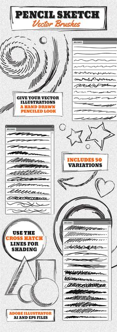 Vector Pencil Sketch Brushes for Adobe Illustrator #design #ai Download: http://graphicriver.net/item/vector-pencil-sketch-brushes/4630510?ref=ksioks