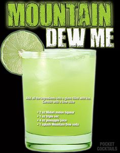 Millions of People Enjoy Pocket Cocktails. Check out our World Famous Drink Posters. Mixed Drinks Alcohol, Alcohol Drink Recipes, Liquor Drinks, Cocktail Drinks, Beverages, Alcholic Drinks, Drink Specials, Mountain Dew, Smirnoff