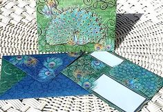 pUNCH sTUDIO Single(1) Die-Cut Embellished Dimensional Note Card ~ Green Peacock