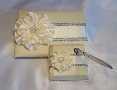 Ivory Satin Wedding Guest Book with Ivory by AllAHeartDesires, $87.50