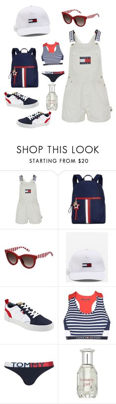 """""""90's sporty Tommy"""" by ericjen8685 ❤ liked on Polyvore featuring Tommy Hilfiger and Topshop"""