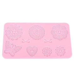 CAN USE WITH SugarVeil    Description: The fondant #lace mold is made of Durable and soft food-grade silicone. Designed with different flowers ,bows,heart shape and bu... #sugarveil #silicone #butterfly