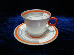 Shelley china art deco Regent shape coffee cup duo Bands & Lines pattern W12132