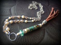 Gypsy, Bohemian, Lampwork,Silver, Pearls, Glass, Chain, Leather Tassel, Long Beaded Necklace by YuccaBloom on Etsy