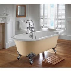 Imperial Bentley Double Ended Bath & Imperial Feet With No Tap Holes In White & Antique Gold Feet