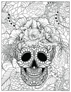 Skull Coloring Pages, Cat Coloring Page, Coloring Book Pages, Adult Coloring, Floral Skull, Poster Colour, Camping Activities, To Color, Bullet Journal Inspiration