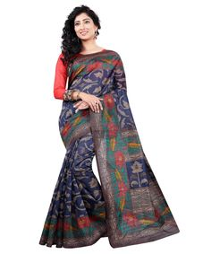 5274cb969 Buy Blue And Grey Bhagalpuri Art Silk office Saree