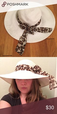 White and Leopard Floppy Hat Purchased in Jamaica while on vacation, but never got around to wearing it. BRAND NEW, never worn! Make an offer today! Accessories Hats