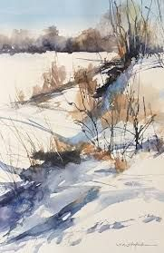 January morning by sandy strohschein watercolor ~ 16 x 12 watercolor and ink, watercolor art Watercolor Landscape Paintings, Watercolor Pictures, Watercolor Trees, Watercolor Sketch, Watercolor Artists, Watercolor Techniques, Watercolour Painting, Watercolours, Abstract Paintings
