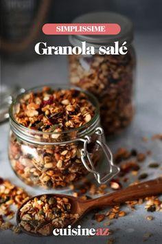 Une recette originale de granola salé! Cette version salée du granola peut être parsemée sur une soupe ou sur de la salade par exemple. #recette#cuisine #granola #granolasale