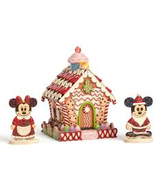 Look at this Mickey & Minnie Gingerbread House Figurine Set on #zulily today!