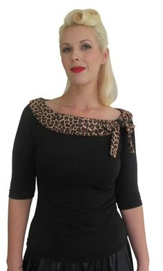 Women's+Pinky+Pinups+Side+Bow+Leopard+3/4+Sleeve+Top+Retro+Rockabilly+Pinup+#PinkyPinups+#blouses