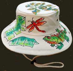 c2105229bbe Tropical Iguana Outback Hat Hand painted for Men and Women
