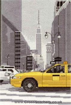 cross stitch ny | New York Taxi - World Scenes - DMC Cross Stitch Kit