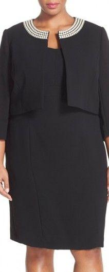 Plus Size Women's Tahari Embellished Neck Crepe Jacket Dress, Size 18W - Black (PLus Size)