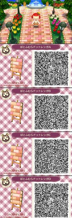 Animal Crossing New Leaf QR codes strawberry pathway