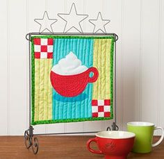 Hot Cocoa Mini Wall Hanging Download from ConnectingThreads.com Quilting by Jenna Buescher-Hill