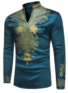African Fashion Dashiki Stand Collar African Print Luxury Mens Shirt We Offer Top Good Quality Cheap Clothes For Women And Men Clothing Wholesaler, Get Affordable Clothing At Worldwide. African Dresses Men, African Shirts, African Attire, African Wear, African Style, African Outfits, African Design, African American Fashion, Men's T Shirts