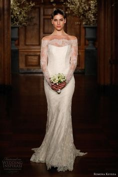 Awwwwww - A gatsby wedding dress beaded lace fluted gown by Romona Keveza collection spring 2014