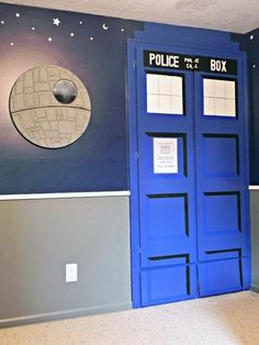 """The Geekiest Kids Room in the Universe-- """"He needed a room to match his geekitude. And this geeky momma provided it. Using his original Space-Themed bedroom décor as a base, I added in elements from Toy Story, Doctor Who, and Star Wars to give him the geekiest room I could DIY."""""""