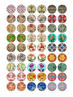 Medieval Patterns Circle Images 1 inch 20mm by MobyCatGraphics