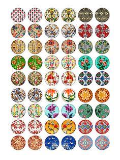 Médiévale patrons Circle Images 1 pouce 20mm par MobyCatGraphics