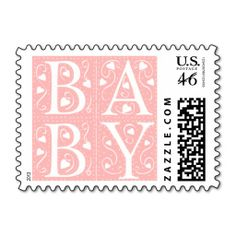 Birth Announcement Postage Stamps. Pink baby girl stamps.  Letters B A B Y with white heart designs. => http://www.zazzle.com/custom_newborn_baby_announcement_stamps-172336817668618100?CMPN=addthis&lang=en&rf=238590879371532555&tc=pinHSPOZPBABYpinkstamp