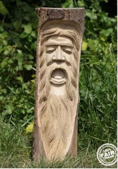 Wooden Green Man Tree Trunk Statue - Plaque 50cm