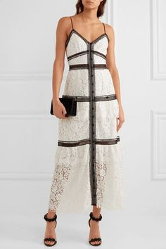Self-Portrait | Two-tone corded lace maxi dress | NET-A-PORTER.COM