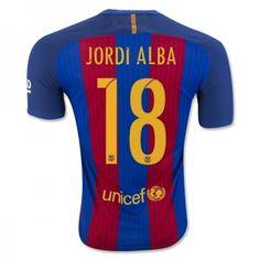 Barcelona 16-17 #Jordi Alba 18 Hjemmebanesæt Kort ærmer,208,58KR,shirtshopservice@gmail.com