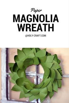 Paper Magnolia wreath made totally from card stock and layered with hot glue on a Styrofoam wreath form made to knock off the signature Magnolia Market Magnolia wreaths as seen on HGTV's Fixer Upper. Dollar Store Hacks, Dollar Store Crafts, Diy Craft Projects, Diy Crafts For Kids, Geek Crafts, Creative Crafts, Diy Paper, Paper Crafts, Free Paper
