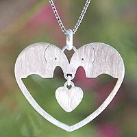Sterling silver heart necklace, 'Elephants in Love' @Jenica Drehmer (There are sooooo many elephant items on this site, Jenica! Awesome!)