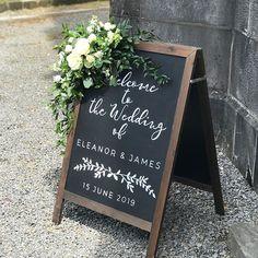 Everything ready for Eleanor and James' big day!  #weddingdetails #chalkboard #weddingsign #weddingflowers #irishflorist #irishwedding #tipperarywedding #bloomsdayflowers