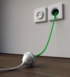 retractable wall cable, very clever. Merging the old hose reel with the extension chord