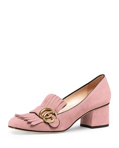 """Gucci suede loafer. 2.25"""" covered chunky heel. Strap over fringe vamp; logo buckle. Slip-on style. Smooth outsole. """"Marmont"""" is made in Italy."""