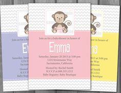 Baby Shower Girl Monkey Invitations ~ Tu tu cute baby shower invitation monkey girl ttc pink monkey