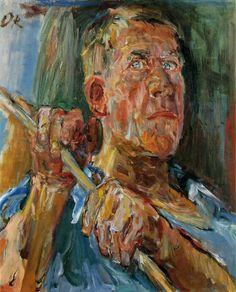 Oskar Kokoschka, Self-portrait in Fiesole, 65.5 x 55 cm, oil on canvas, 1948 (Musee Jenisch, Vevey, Switzerland).