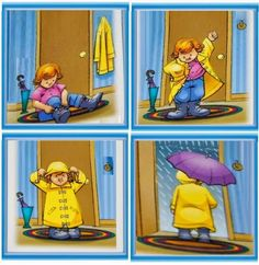 Where is the girl going? What do you think the weather is like? What color is her umbrella? Sequencing Worksheets, Sequencing Cards, Story Sequencing, Speech Therapy Activities, Educational Activities, Classroom Activities, Early Education, Childhood Education, Cause And Effect Activities