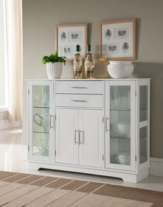 Kings Brand Furniture White Finish Wood Kitchen Storage Cabinet Buffet With Glass Doors. Make this four-door cabinet part of your casual kitchen today. This cabinet features a versatile style with sleek lines and large glass viewing windows. Kitchen Buffet Cabinet, Glass Kitchen Cabinets, Farmhouse Kitchen Cabinets, Glass Cabinet Doors, Glass Doors, China Cabinet, Sideboard Buffet, Wooden Kitchen, Design Furniture