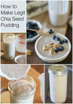 How to Make Delicious Chia Seed Pudding in 3 Easy Steps! Ingredients 2-½ cups soy, almond or coconut milk 3 tablespoons pure maple syrup or agave nectar ½ cup chia seeds (white or black will work) Instructions Add the almond milk and pure maple syrup to a large sealable jar. Pour in the chia seeds. Seal the jar tightly, and shake vigorously until ingredients are well-combined. Place jar in the refrigerator overnight (or at least 4 hours). Serve chia seed pudding with fresh fruit and nuts