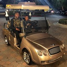 Floyd Mayweather in his gold Bentley custom golf cart