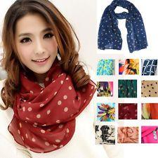 Fashion Lady Girls Vintage Long Chiffon Scarf Wrap Shawl Stole Scarves 19 Colors