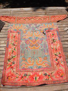 Hmong Embroided Folk Art Tribal Textile Panel.