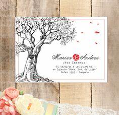 Delicada invitación boda con dibujo de árbol en blanco y negro. Detalles en rojo.<strong>Especificaciones:</strong>Tamaño: 14x10 cm. Papel ilustración de 300gr.<strong>Tiempo de entrega:</strong> 15 días