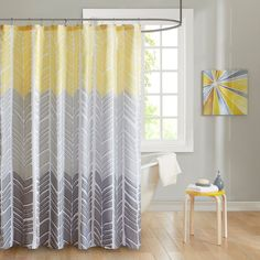 Intelligent Design Kennedy Microfiber Printed Shower Curtain Yellow