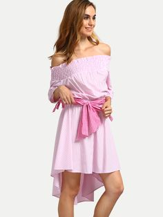 Pink+Striped+Off+The+Shoulder+High+Low+Dress+21.99