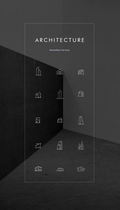 Minimal architecture line icon pack - free psd more psd: Minimal Architecture, Architecture Portfolio, Architecture Business Cards, Architecture Tools, Portfolio Logo, Portfolio Design, Graphisches Design, Icon Design, Arquitectura Logo