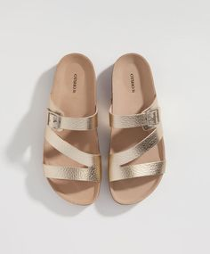 Metallic strap and buckle sandals - Flat Shoes.