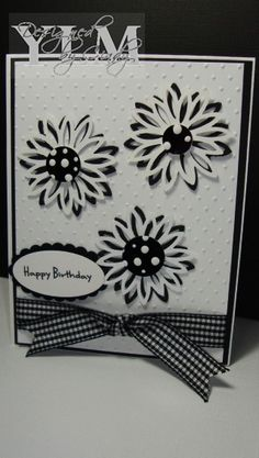 Black & White Daisy for Ali by YLM - Cards and Paper Crafts at Splitcoaststampers Greeting Cards Handmade, Hand Made Greeting Cards, Making Greeting Cards, Diy Cards, Cool Cards, Paper Cards, Happy Birthday Cards, Sympathy Cards, Daisy Flowers